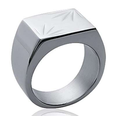 Ring Signet ring Acier 316L Engravable for Men - Signet...