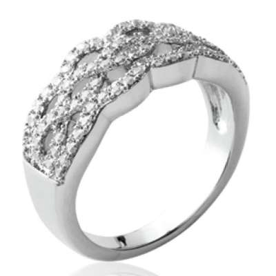Ring Lacework strass Argent - Cubic Zirconia Microsertis
