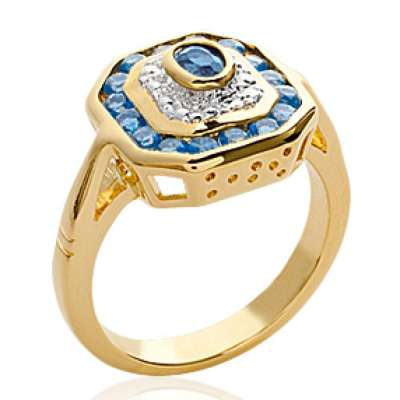 Ring Art déco bleue Gold plated 18k Pierres Cubic...