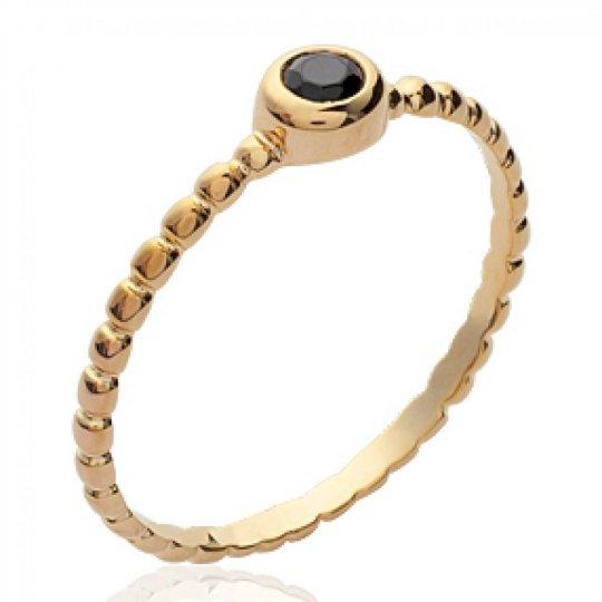 Ring fine pierre Black Gold plated 18k - Zirconium - Ring...
