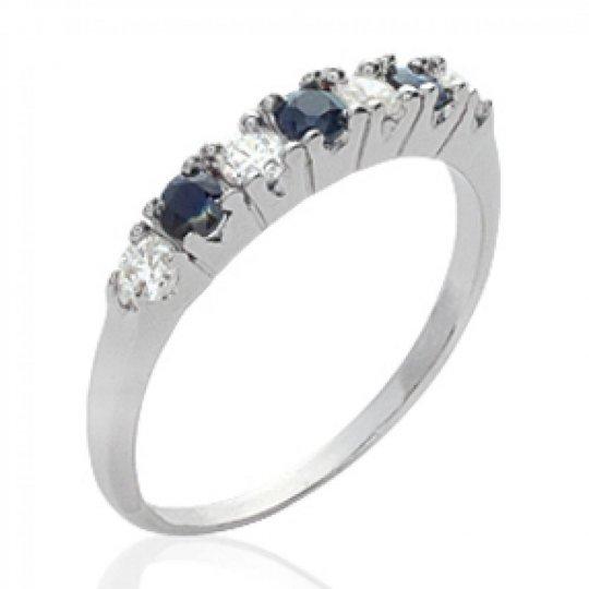 Ring jarretière Onyx Argent Rhodié Precious Gemstone...