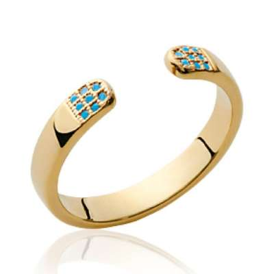 Ring ouverte pierres bleues Gold plated 18k - Women