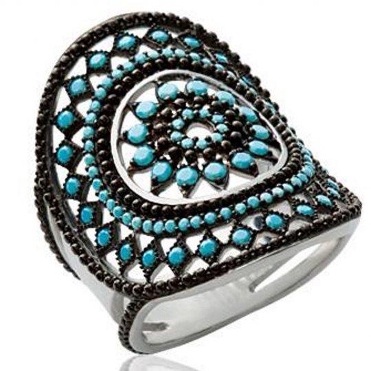Bague bohème noire et pierre d'imitation Bleue Argent Femme