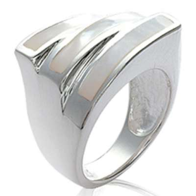 Grosse Ring argent Mother of pearl  - Women
