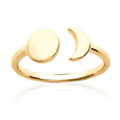Ring Crescent Moon et soleil Gold plated 18k - Women