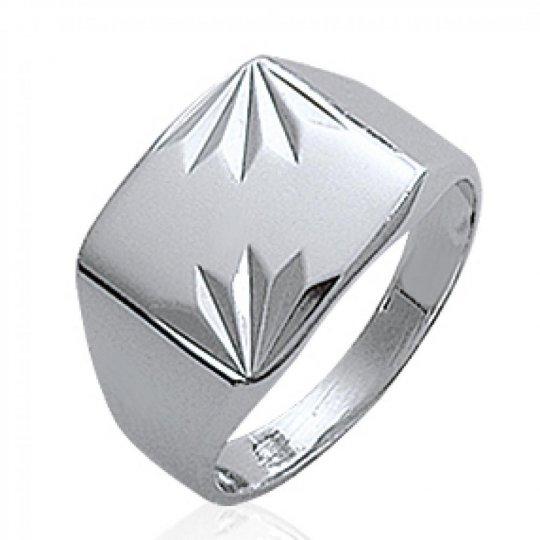 Ring Signet ring Engravable Argent Rhodié pour for Men