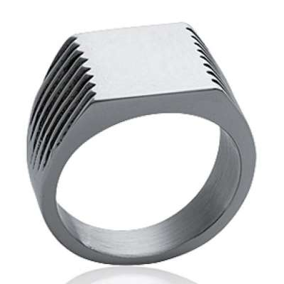 Ring Signet ring Engravable Acier 316L pour for Men