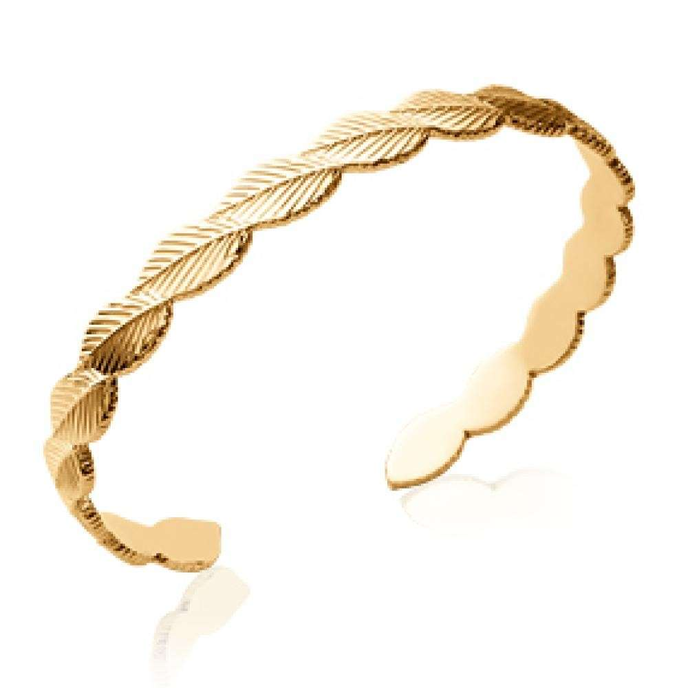Manchette feuilles Naturelles Gold plated 18k - Women - 58mm
