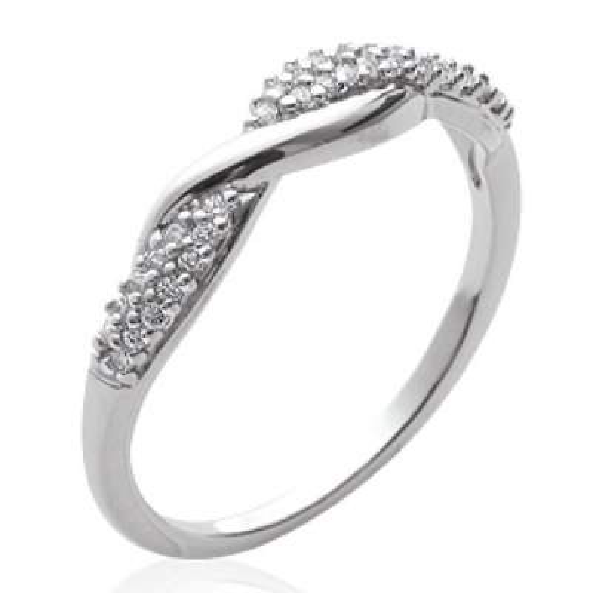 Ring entrelacée fine Argent Rhodié - Zirconium - Women
