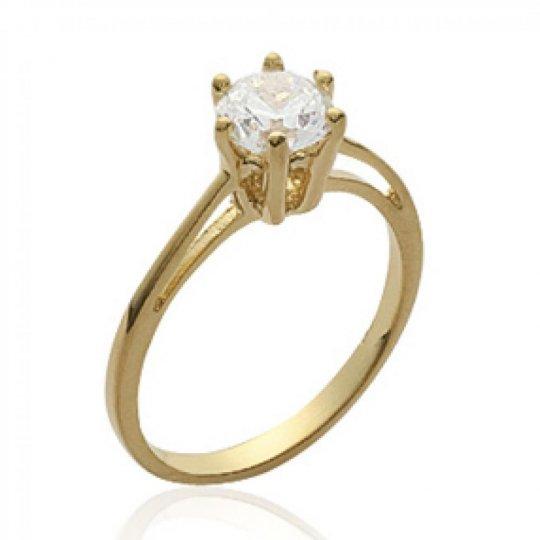 Ring de fiançailles grosse pierre Solitaire 6mm Gold...