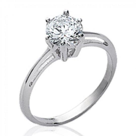 Ring de fiançailles grosse pierre Solitaire Argent -...