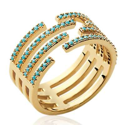 Anello pierre d'imitation turquoise large Placcato in oro 18k - Donna
