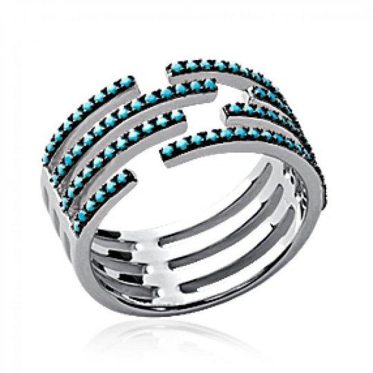 Ring pierre d'imitation turquoise et Black large Argent...