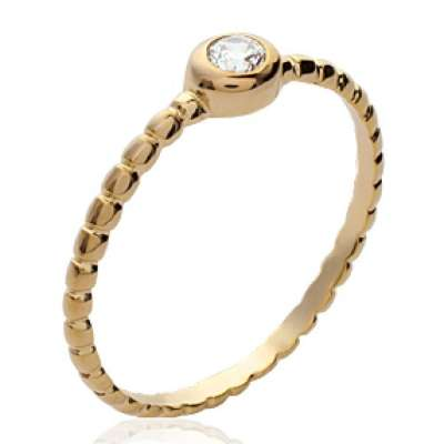 Ring de promesse petit Solitaire Gold plated 18k -...