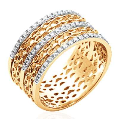 Ring Bangle Chains rigides Gold plated 18k - Zirconium -...
