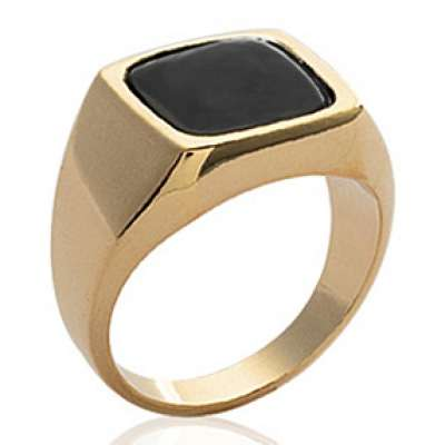 Ring Signet ring pierre Black Gold plated 18k - for Men