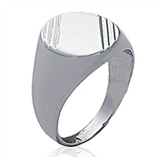 Signet ring Argent Rhodié à graver - for Men - Signet...