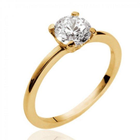 Ring de fiançailles Solitaire Gold plated 18k - Zirconium...