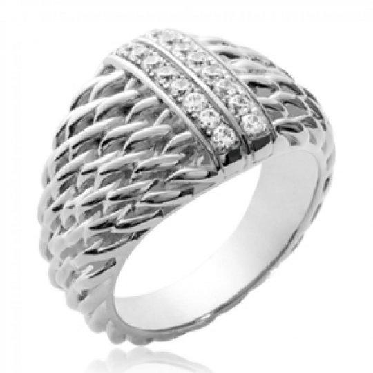 Anello dôme corde Argent Rhodié - Zirconium - Donna