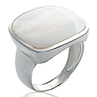Grosse Ring argent Mother of pearl  - Signet ring pour Women