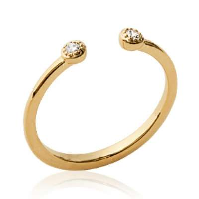 Ring Ouverte Gold plated 18k - Zirconium - Ring de...