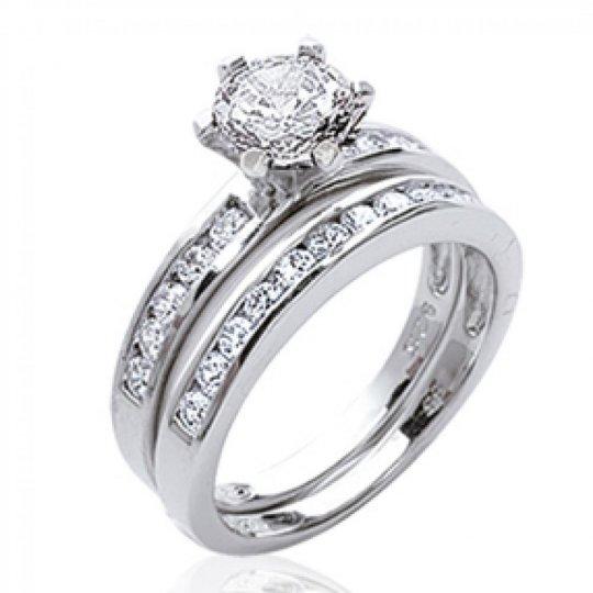 Ring Solitaire 2 anneaux séparés Argent - Zirconium -...