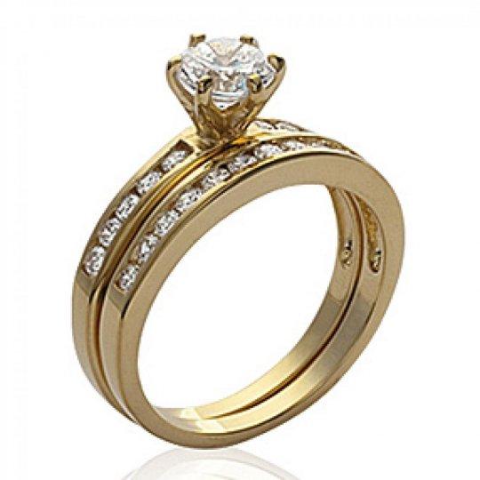 Ring Solitaire 2 anneaux séparés Gold plated 18k -...