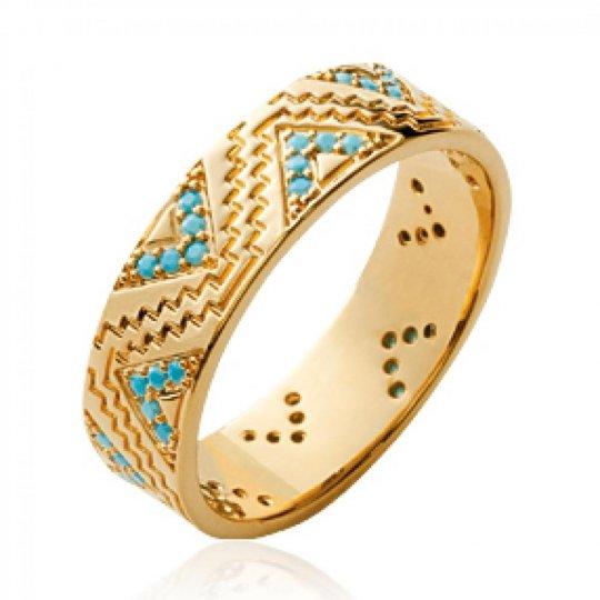 Bague Aztèque pierres d'imitation Bleues turquoise Plaqué Or - Femme