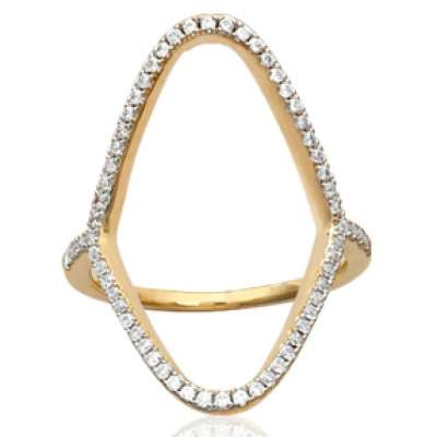 Ring longue ajourée Gold plated 18k - Cubic Zirconia...