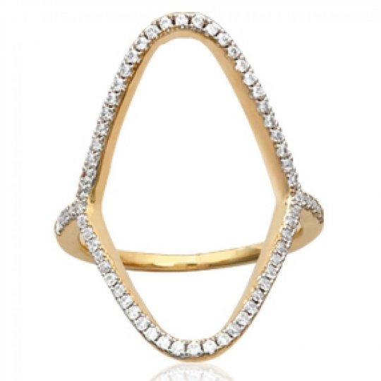 Ringe longue ajourée Vergoldet 18k - Kubisches Zirkonoxid...