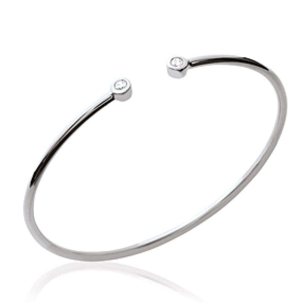 Bracciale Bangle pierres Argento Sterling 925 Rodiato - Zirconia Cubica - 56mm