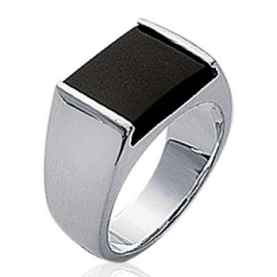Signet ring Pierre Black Argent Rhodié - for Men
