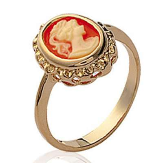 Anello camée rouge Placcato in oro 18k - Anello de pouce...