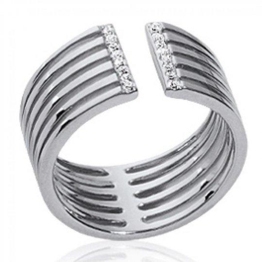 Ring ouverte large Argent Rhodié - Cubic Zirconia...
