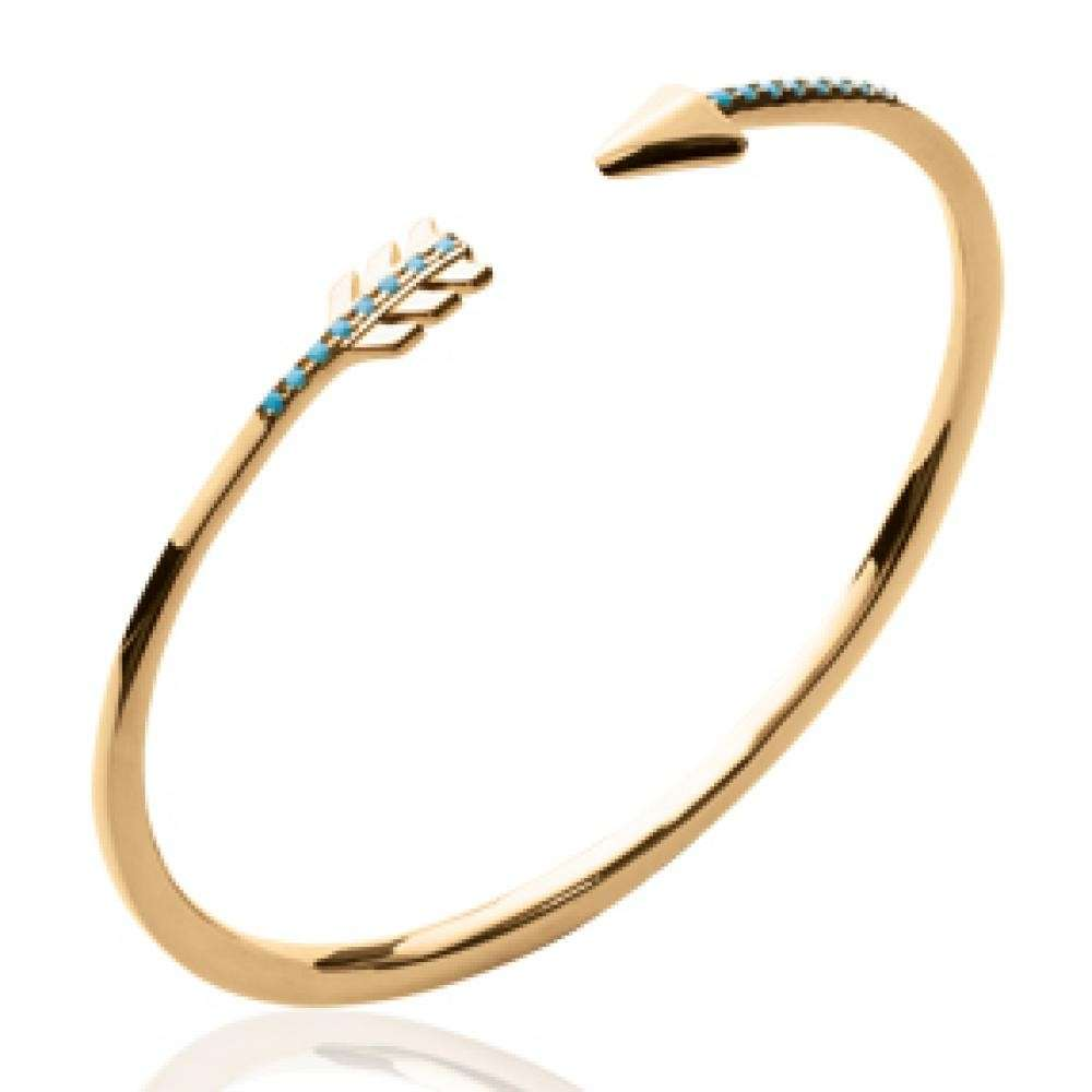 Bangle Arrow d'archer aztèque Bleu turquoise Gold plated 18k - 56mm