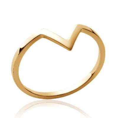 Anello en v fine Placcato in oro 18k - Donna