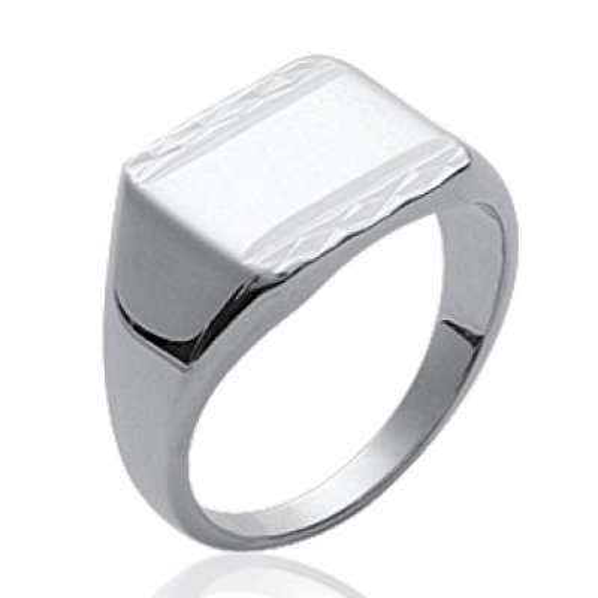Signet ring Engravable Argent Rhodié pour for Men -...