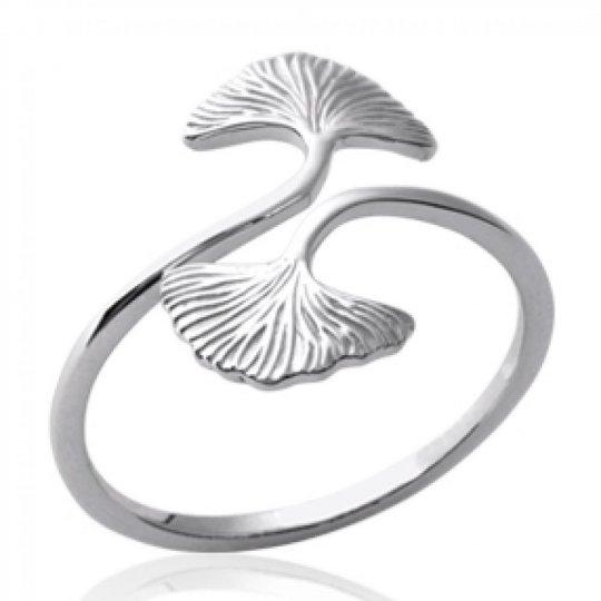 Ring Ginkgo Abricotier d'argent Argent Rhodié - Women