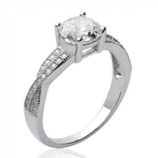 Ring Solitaire de fiançailles Argent Rhodié - Grosse...