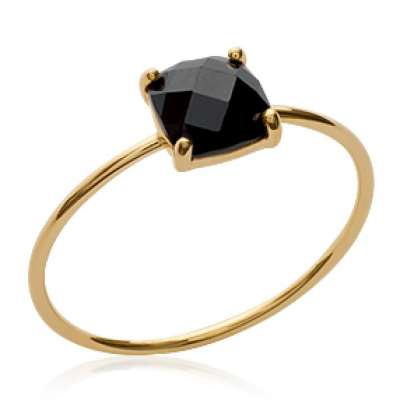 Anello fine pierre Nero Placcato in oro 18k - Zirconium -...