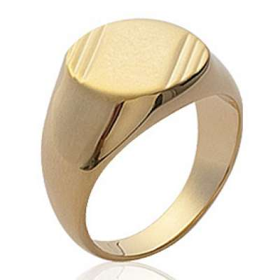 Signet ring ronde Gold plated 18k Engravable for Men -...