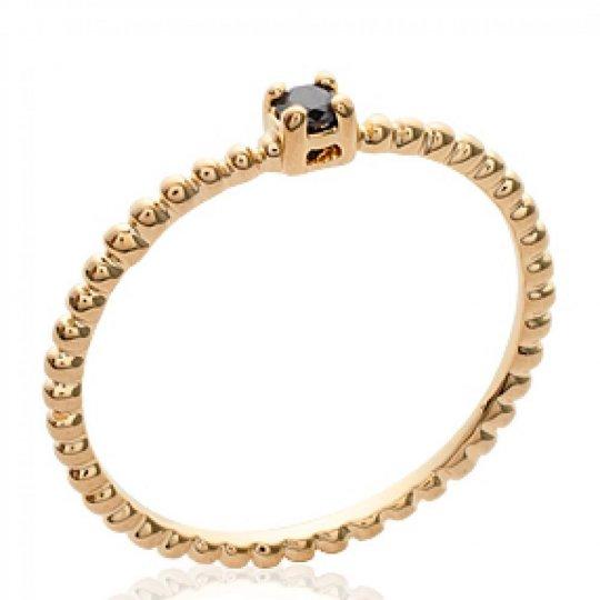 Ring de promesse fine petit Solitaire Black Gold plated...