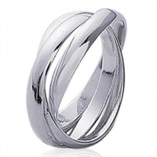 Alliance 3 anneaux pour couple Argent Rhodié Homme Femme