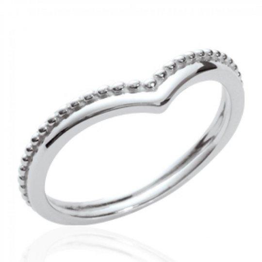 Ring fine en v Argent Rhodié - Ring de promesse Women