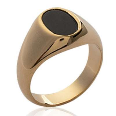 Signet ring pierre d'imitation Black Gold plated 18k -...
