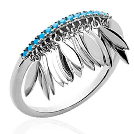 Ring breloques Feathers pierres turquoise Argent Rhodié -...