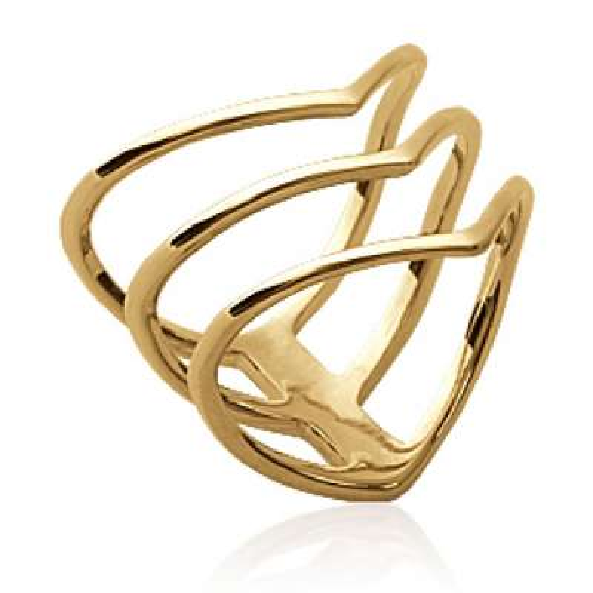 Bague multi anneaux en v Triangle Plaqué Or - Femme