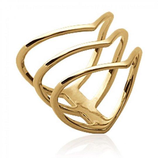 Ring multi anneaux en v Triangle Gold plated 18k - Women