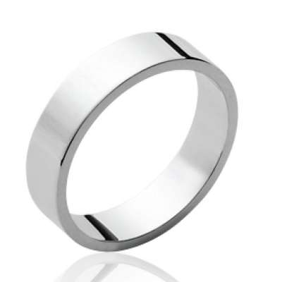 Ring plate Argent Rhodié pour for Men Women