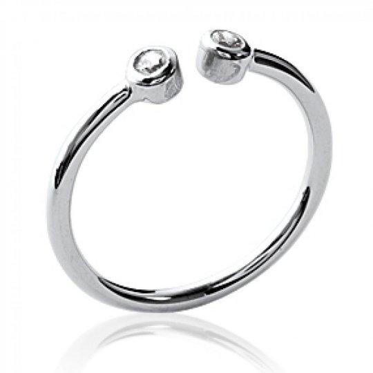 Ring ouverte avec 2 petites pierres Argent Rhodié -...